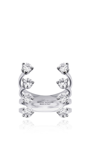 Medium delfina delettrez silver eight dots ring in diamond