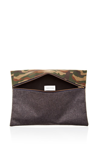 Camouflage & Flannel Clutch Bag by VANITIES Now Available on Moda Operandi