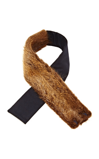 Medium vanities brown fur and wool flannel scarf