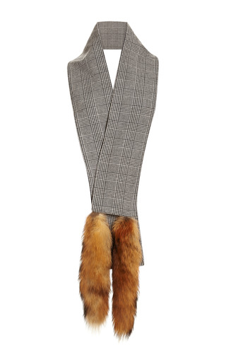 Wool Scarf With Fox Tails by VANITIES Now Available on Moda Operandi
