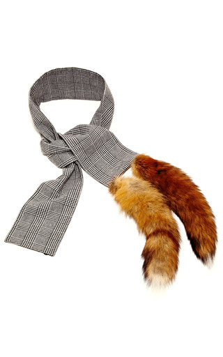 Medium vanities dark grey wool scarf with fox tails