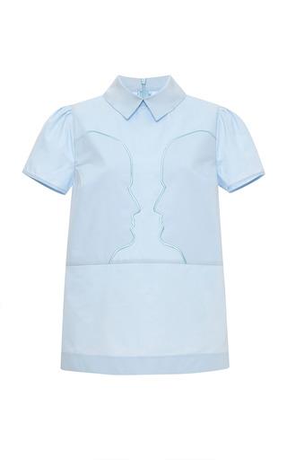 Medium vivetta blue apollonia embroidered cotton poplin shirt