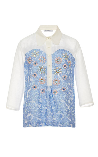 Medium vivetta blue leroy embellished linen blend shirt