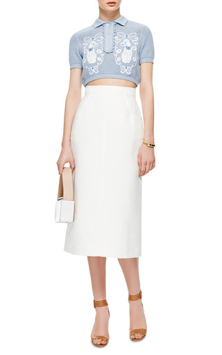 Sabrina Embroidered Cropped Knit Top by VIVETTA Now Available on Moda Operandi