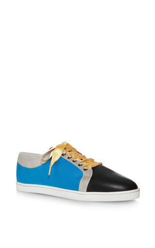 Silk And Leather Sneakers by TWINS FOR PEACE Now Available on Moda Operandi
