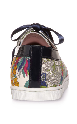 Leather Trimmed Printed Sneakers by TWINS FOR PEACE Now Available on Moda Operandi