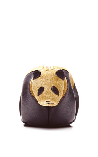 Medium loewe gold leather and suede panda coin purse