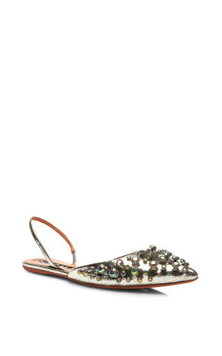Embellished Metallic Leather Slingbacks by ROCHAS Now Available on Moda Operandi