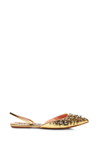 Medium rochas yellow embellished metallic leather slingbacks
