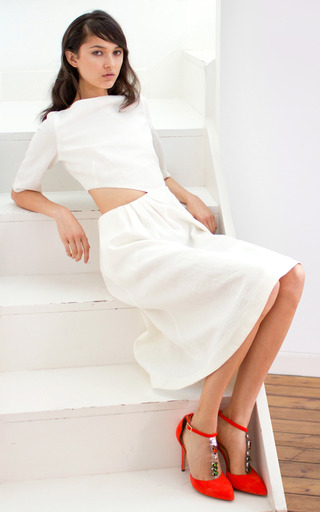 3/4 Sleeve Cut Out Dress by ISA ARFEN for Preorder on Moda Operandi