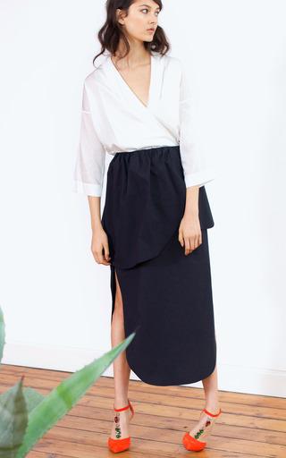 Medium isa arfen black asymmetric petal skirt