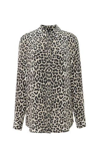 Medium equipment brown reese leopard print shirt
