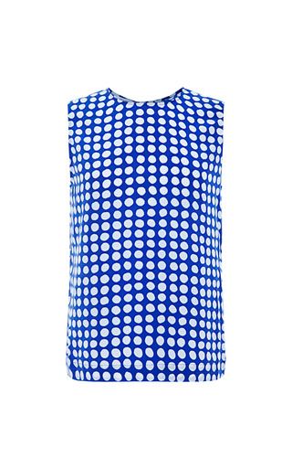 Medium equipment blue reagan dotted silk tank