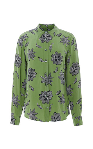 Medium equipment green brett safari floral silk shirt