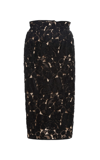 Medium aquilano rimondi black lace and organza midi skirt