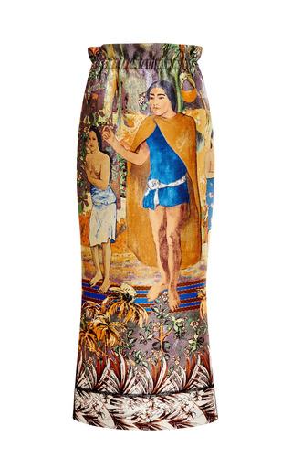 Medium aquilano rimondi multi satin gaugin print midi skirt