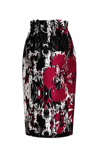 Medium aquilano rimondi multi satin floral print midi skirt