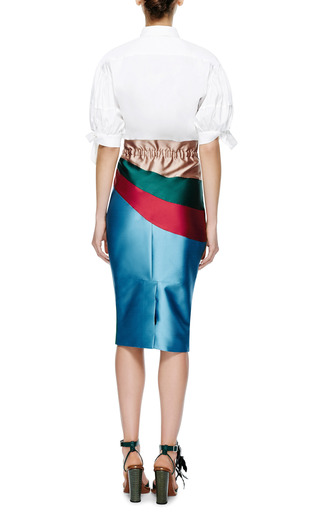 Silk Mikado Intarsia Midi Skirt by AQUILANO.RIMONDI Now Available on Moda Operandi