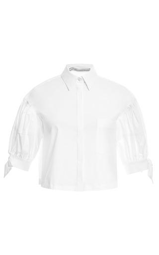 Medium aquilano rimondi white balloon sleeve cotton poplin blouse
