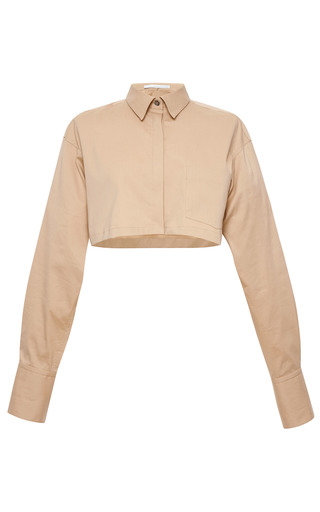 Medium aquilano rimondi brown cropped cotton poplin shirt