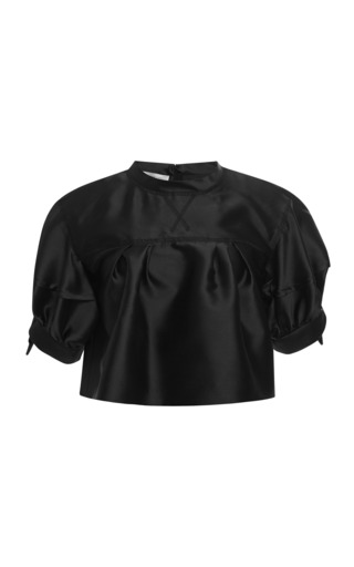 Medium aquilano rimondi black silk mikado cropped blouse