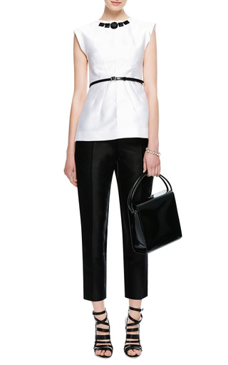 Embellished Silk Mikado Top by AQUILANO.RIMONDI Now Available on Moda Operandi