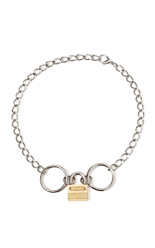 Medium rodarte silver padlock chain necklace