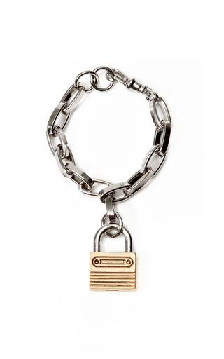 Medium rodarte silver padlock chain bracelet