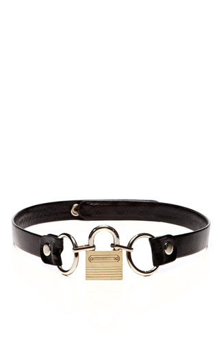 Medium rodarte black padlock buckle leather belt