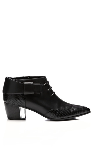 Medium rodarte black embossed leather ankle boots