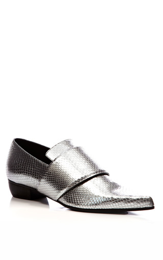 Metallic Embossed Leather Pointed Toe Flats by RODARTE Now Available on Moda Operandi