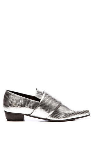 Medium rodarte silver metallic embossed leather pointed toe flats