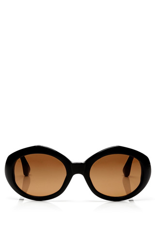 Medium linda farrow black dries van noten oval acetate sunglasses