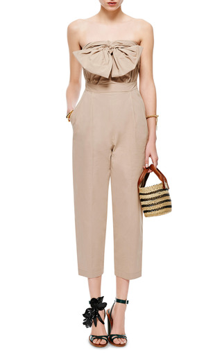 Bow Detail Cotton Poplin Jumpsuit by MSGM Now Available on Moda Operandi