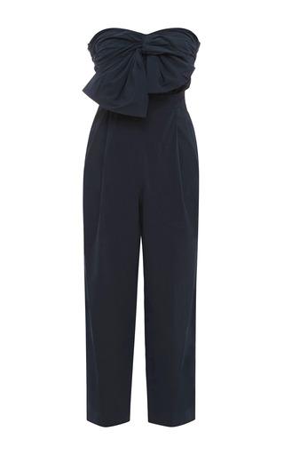 Medium msgm navy bow detail cotton poplin jumpsuit