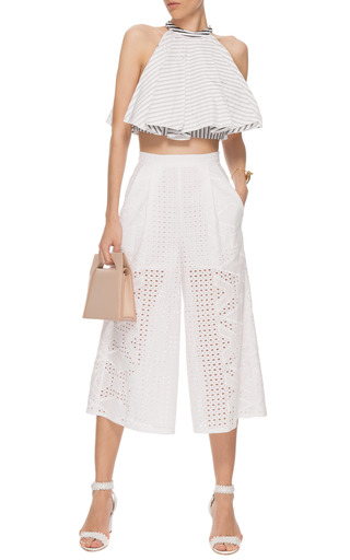 Cotton Eyelet Culottes by MSGM Now Available on Moda Operandi