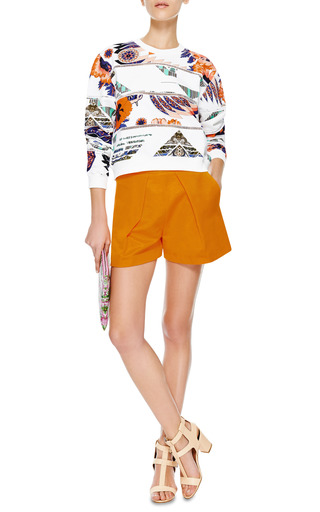 Pleat Front Mini Shorts by MSGM Now Available on Moda Operandi