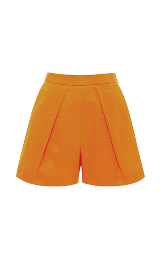 Medium msgm orange pleat front mini shorts