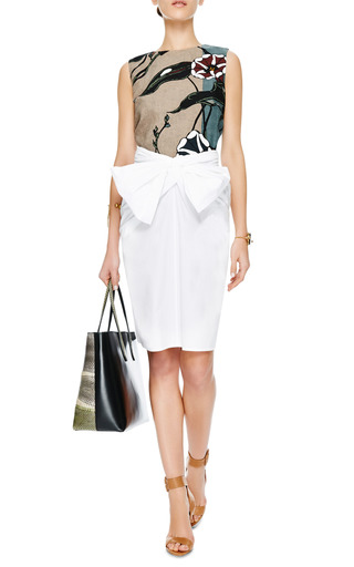 Tie Front Cotton Skirt by MSGM Now Available on Moda Operandi