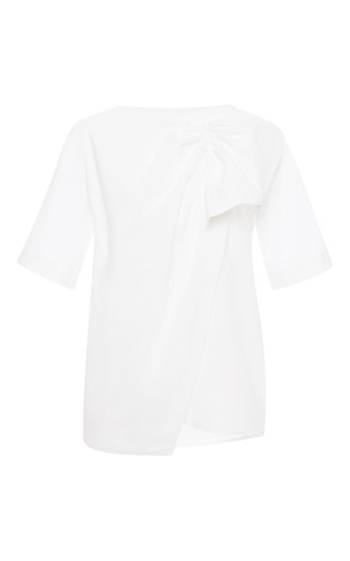 Medium msgm white ruffled cotton poplin top