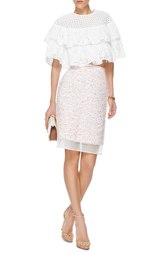 Tiered Cotton Eyelet Top by MSGM Now Available on Moda Operandi