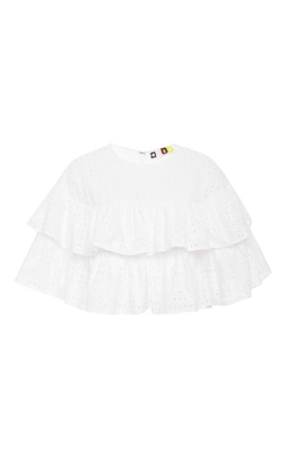 Medium msgm white tiered cotton eyelet top