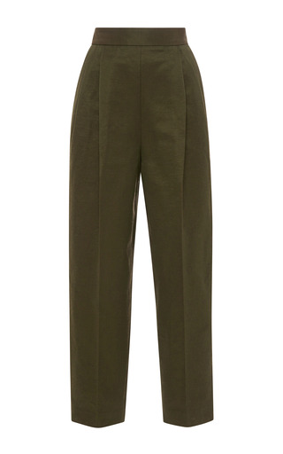 Medium msgm khaki pleat front cropped pants
