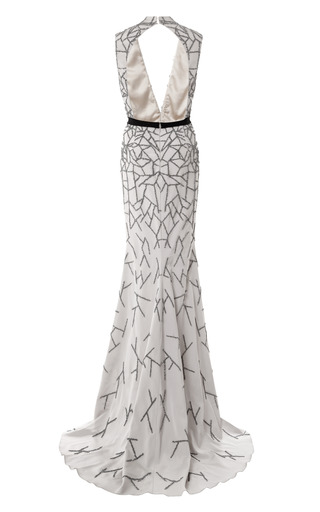 Stretch Faille Embroidered V Neck Gown by BIBHU MOHAPATRA for Preorder on Moda Operandi