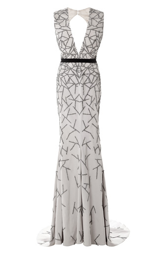 Medium bibhu mohapatra print stretch faille embroidered v neck gown