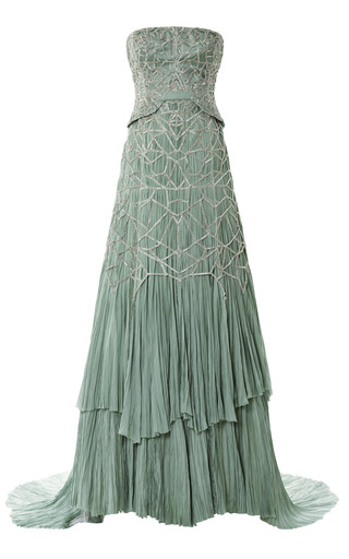 Medium bibhu mohapatra silver strapless hand pleated chiffon gown with antique silver beading
