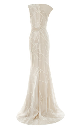 Fracture Organza Jacquard Asymmetric Gown by BIBHU MOHAPATRA for Preorder on Moda Operandi