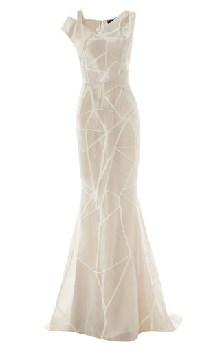 Medium bibhu mohapatra nude fracture organza jacquard asymmetric gown