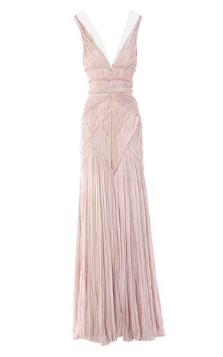 Medium bibhu mohapatra pink hand pleated chiffon v neck gown