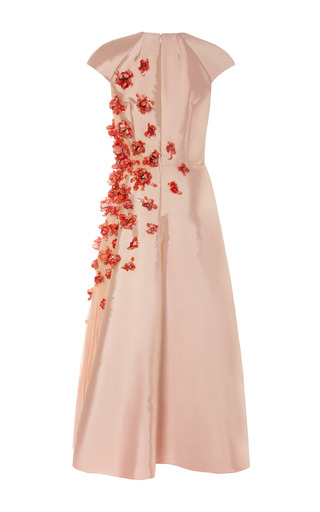 3 D Flower Embellished Twill Dress With Chiffon Inset by BIBHU MOHAPATRA for Preorder on Moda Operandi
